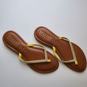 ITALIAN SHOEMAKERS YELLOW RHINESTONE  SANDALS